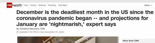 美国12月疫情超6.3万人死 美媒称1月更会是噩梦