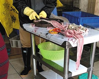 海宝湾水产市场内,一店主现场宰杀蛇类,店主并未佩戴口罩。