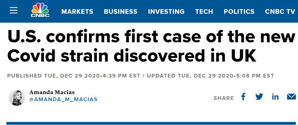 美国报告首例新冠变种病例!拜登抱怨疫苗接种远慢于计划