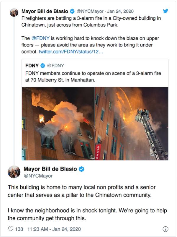 纽约市长白思豪(Bill de Blasio)在推特上称这里是社区的支柱。