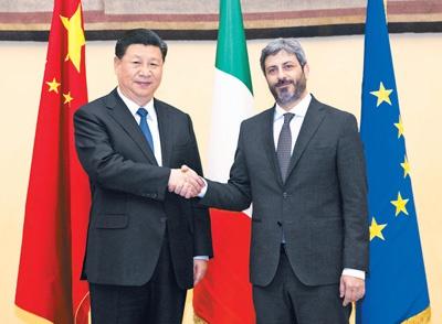 3月22日,国家主席习近平在罗马会见意大利众议长菲科。新华社记者 王晔摄