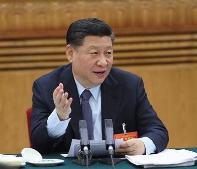 3月7日,中共中央总书记、国家主席、中央军委主席习近平参加十三届全国人大二次会议甘肃代表团的审议。新华社记者 鞠鹏摄
