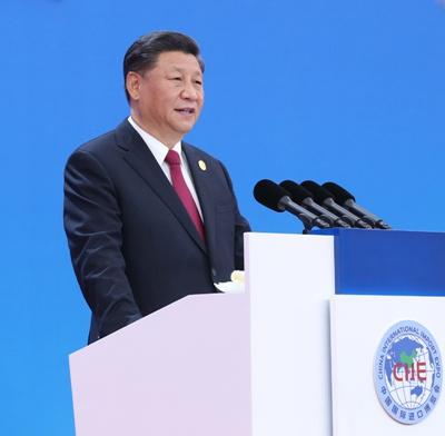 11月5日,第二届中国国际进口博览会在上海国家会展中心开幕。国家主席习近平出席开幕式并发表题为《开放合作 命运与共》的主旨演讲。新华社记者 鞠鹏摄