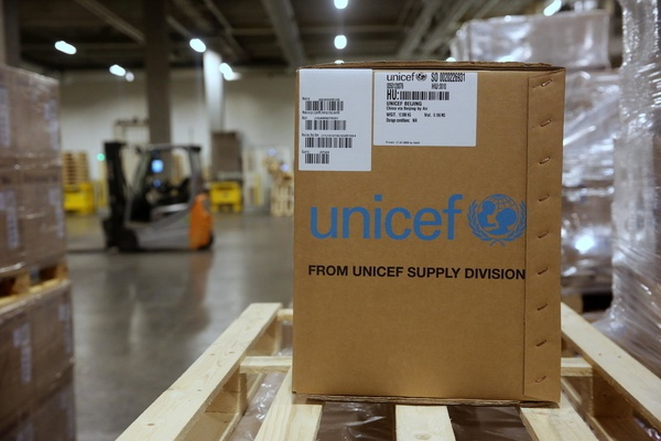联合国儿童基金会捐献的物资