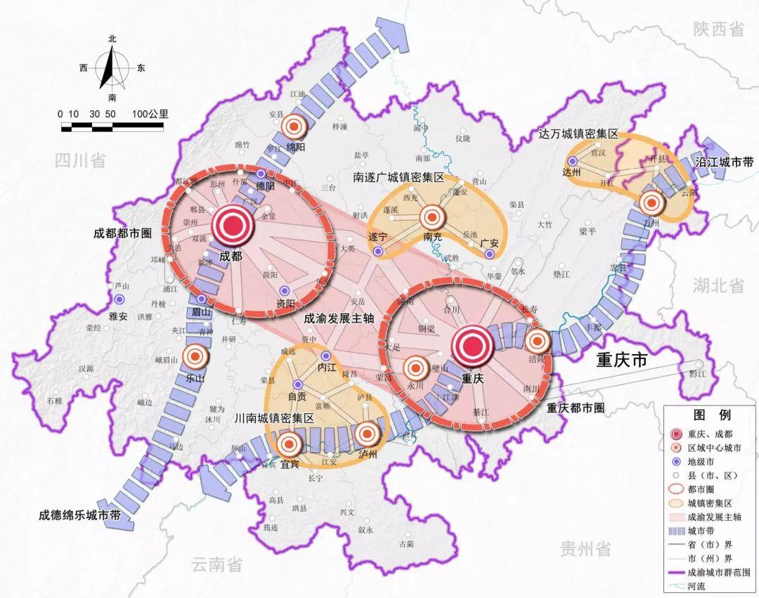成渝区域格局示意图 图片来源:《成渝城市群发展规划》