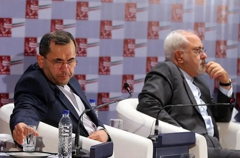 伊朗联合国大使拉万奇与外交部长扎里夫 图:TASNIM 新闻社