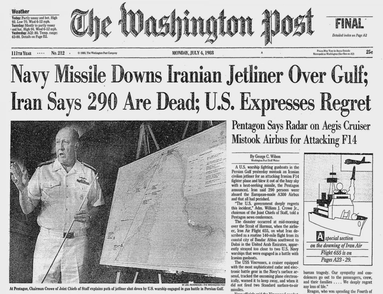 《华盛顿邮报》那时的报道,其中包含军舰击落客机的暗示图 图片来源:《华盛顿邮报》