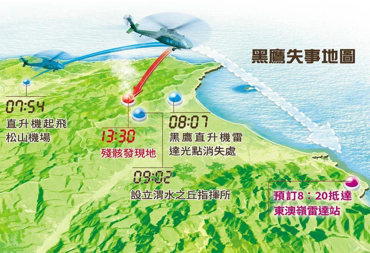 图为黑鹰失事地图(来源:台媒)