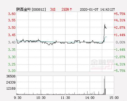 陜西金葉大幅拉升3.24% 股價創近