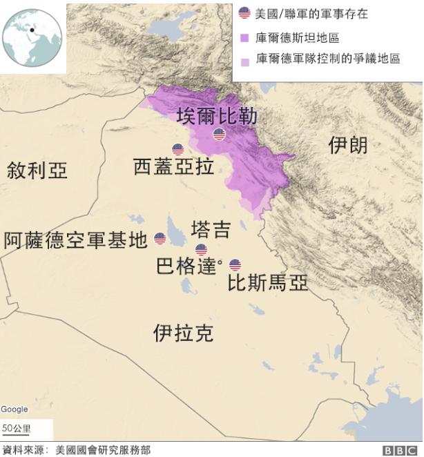 △被袭击的美军基地位置 图片来源:BBC