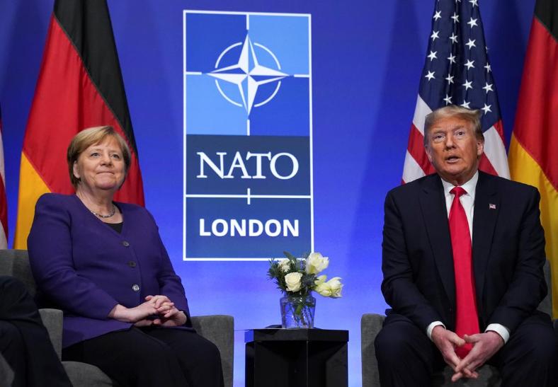 德国总理默克尔与美国总统特朗普(路透社)