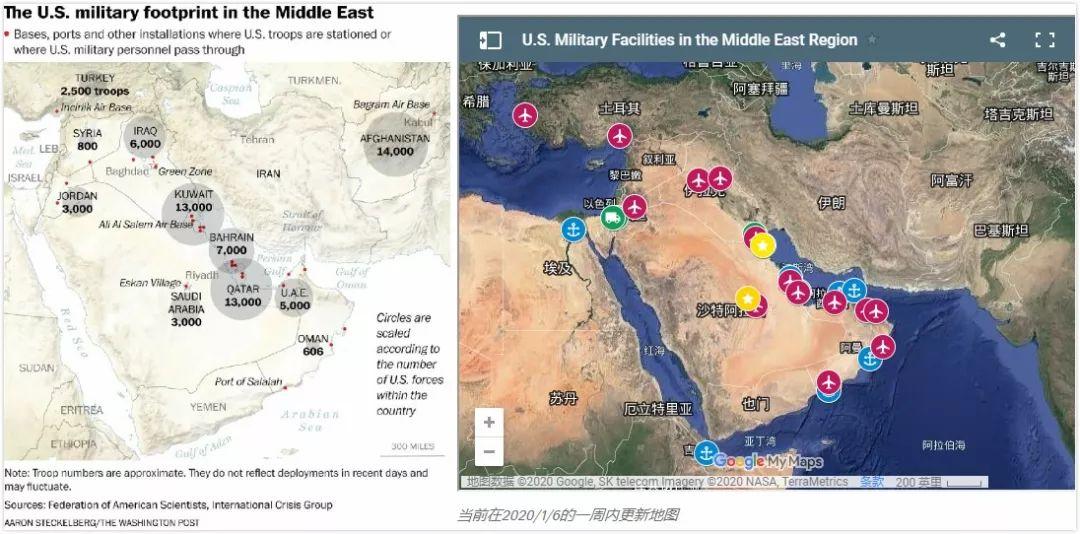 美国军事设施与兵力在中东的部署 图源:华盛顿邮报、美军安全项目组织官网
