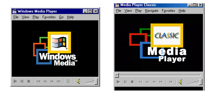 WMP 6.4(左)和MPC