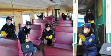 朝鮮工作人員對列車進行消毒(《勞動新聞》)