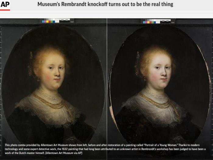 """倫勃朗名畫""""年輕女子肖像""""被現代科技手段證明為真品。(圖片來源:美聯社報道截圖)"""