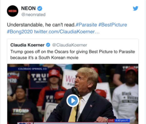 NEON公司回怼特朗普对《寄生虫》的质疑(图源:推特)