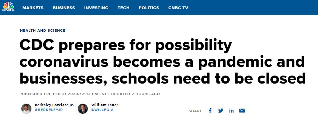 美国疾控中心:有可能出现学中国停