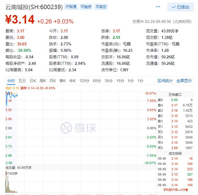 云南城投早盘触涨停 受疫情影响资产重组事项仍在筹划中