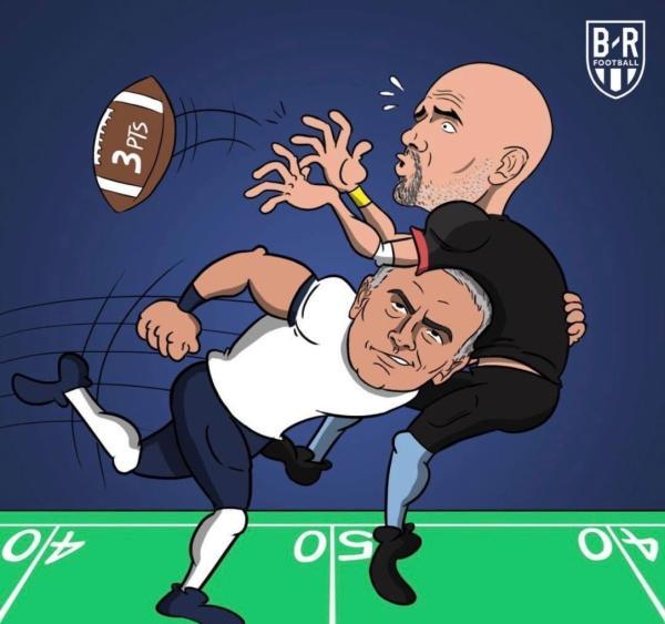 美国媒体BR借着超级碗创作漫画:穆里尼奥顶翻了瓜迪奥拉。
