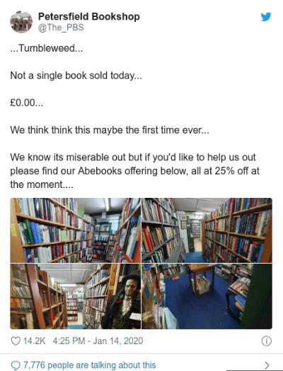 森桑发布的推文。图片来源:书店社交媒体账户截图。