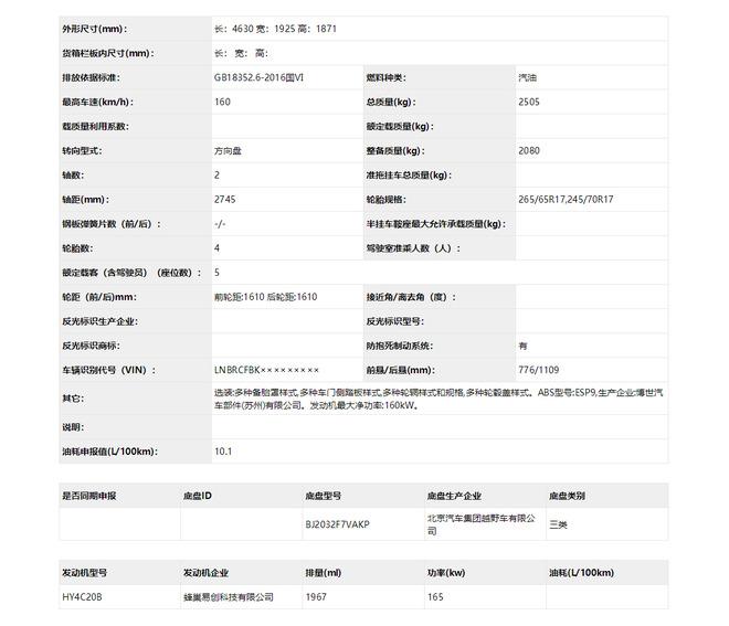 北京40车系将换长城2.0T发动机 最大功率165kW
