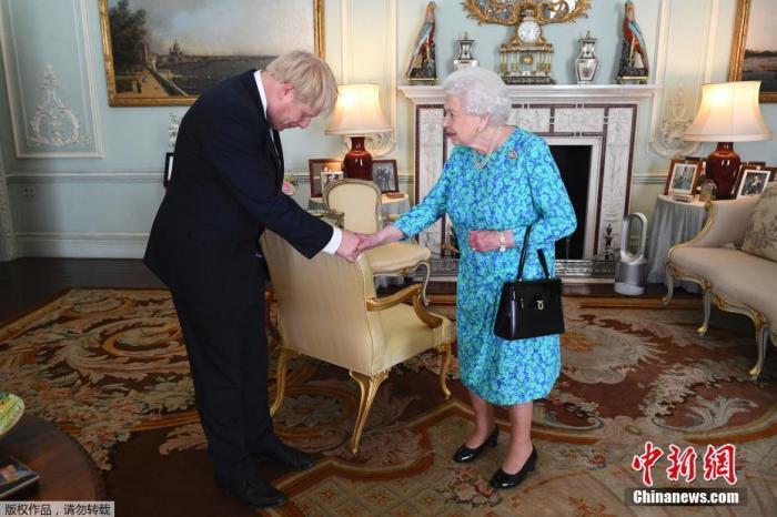 资料图:当地时间2019年7月24日,约翰逊应女王邀请成为英国的第55任首相,组建新一届政府。