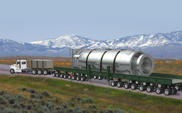 原料图片:可行使卡车运输的微型核逆答堆想象图。(美国《防务音信》周刊网站)