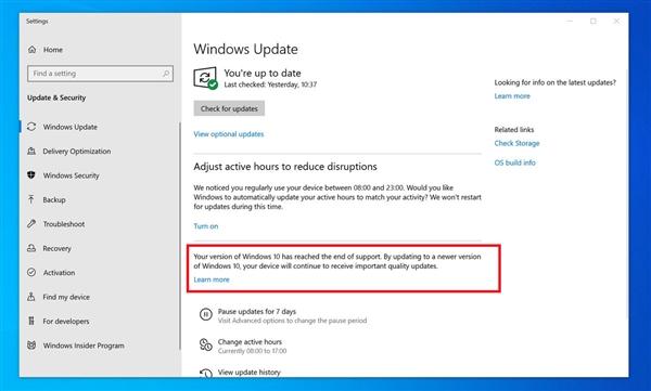 微软测试Windows 10版死亡通知:督促用户尽快升级 提醒还算温和