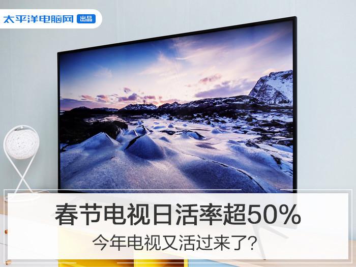 春节期间电视的开机率上升明显,日活率甚至达到了50%以上