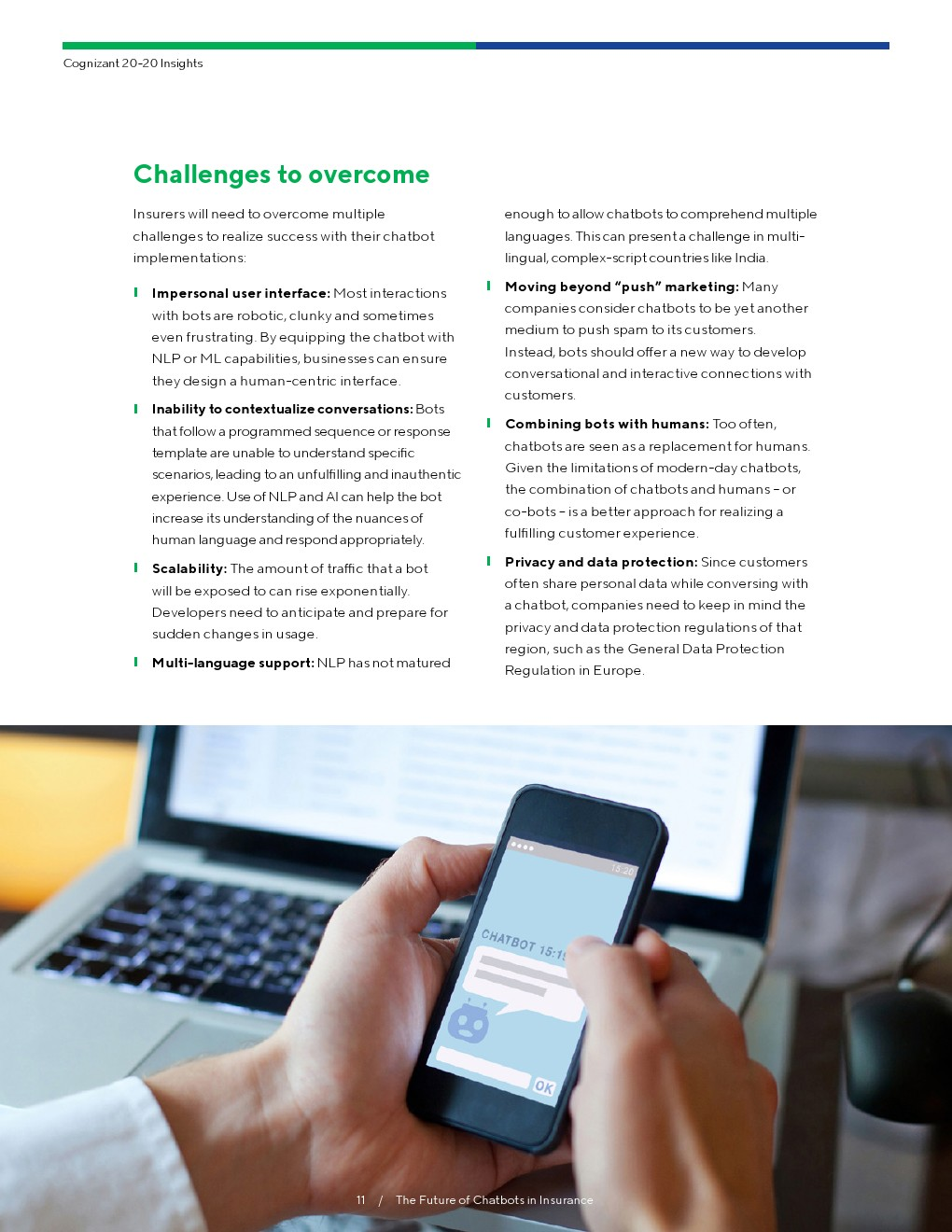 Cognizant: the future of chat robot in insurance industry