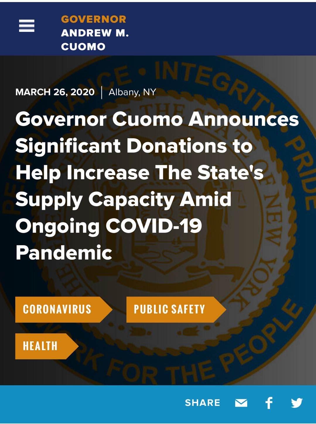 纽约州州长点名感谢华为捐赠防护物