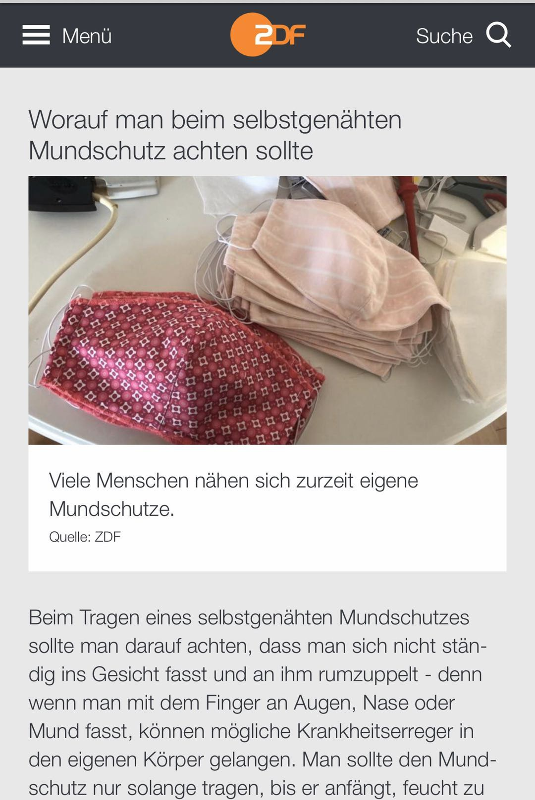 △德国电视二台对很多民众自己动手缝口罩进行报道