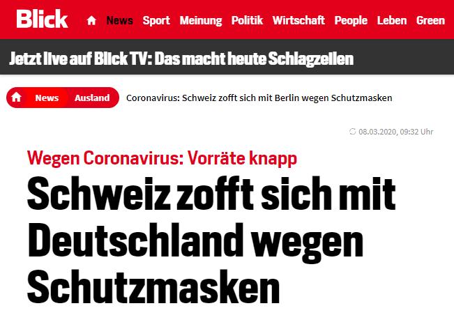 《一瞥报》:瑞士与德国因防护口罩产生不和