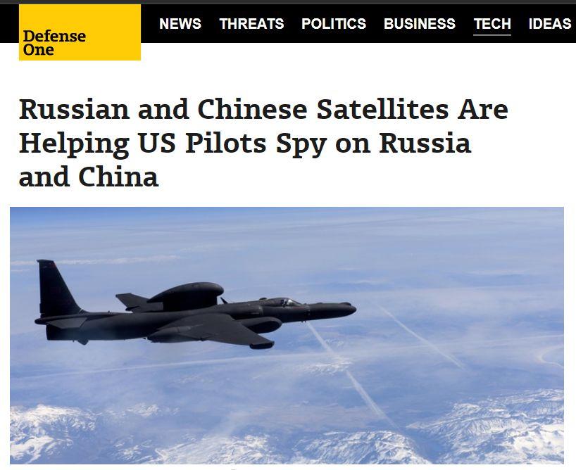 """美国""""防务一号""""网站题为《俄罗斯和中国的卫星帮助美国飞行员反侦察中俄》的报道原文截图"""