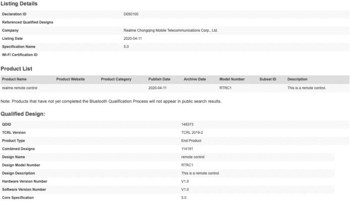 认证信息显示 RTRC1 遥控器支持蓝牙 5.0