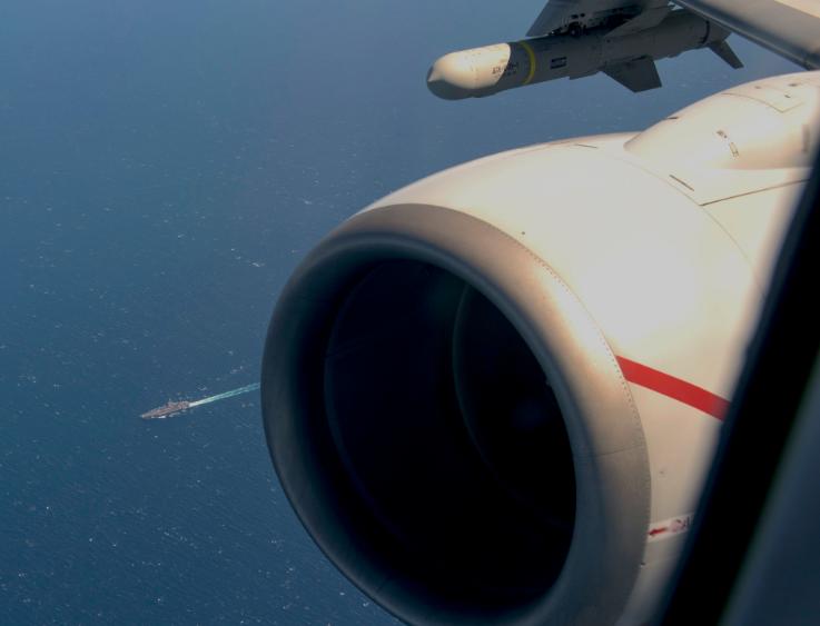 """美国海军P-8A拍摄到的""""杜鲁门""""号航母,在大西洋 图源:美国海军"""