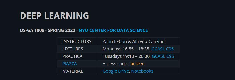 资料 | Yann Lecun 纽约大学《深度学习(PyTorch)》课程(2020)PPT