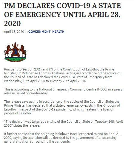 △圖片來自萊索托政府官網
