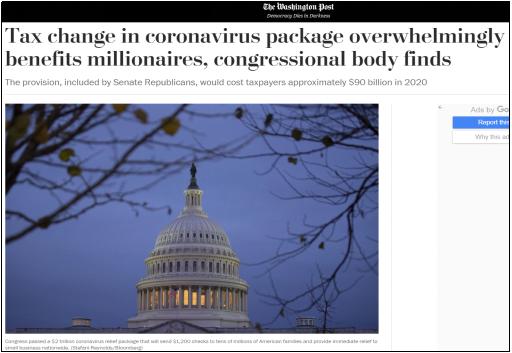 △《华盛顿邮报》刊文称,经济救助法案带来的好处,80%以上都流向了年收入百万美金以上的富人