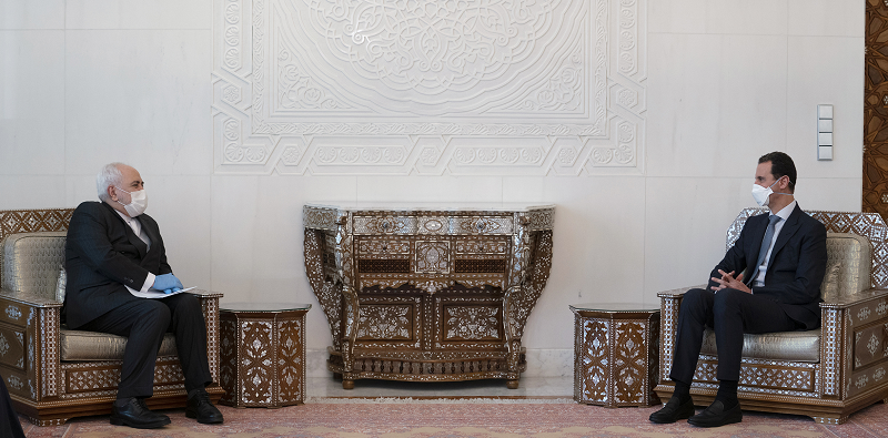 △20日叙利亚总统阿萨德会见伊朗外长扎里夫(图片来源:叙利亚总统府)