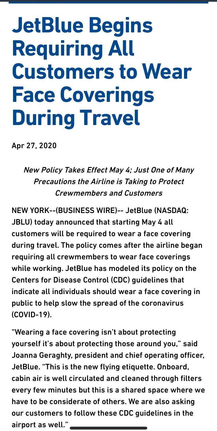 首家美国航空公司要求乘客戴口罩 (图)
