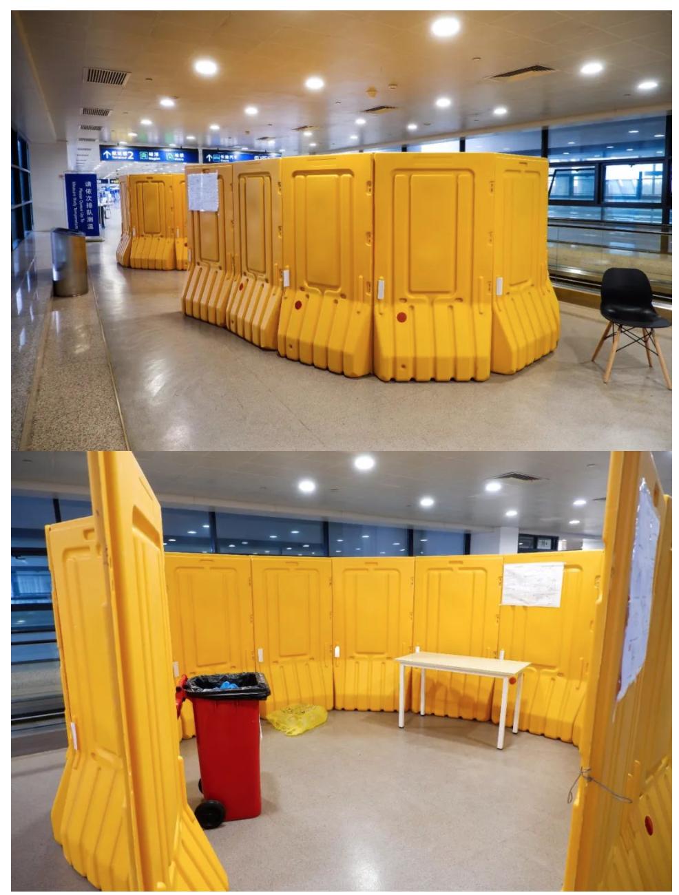 防疫做事人员的浅易更衣室,行使过的防护服屏舍在同一垃圾桶内