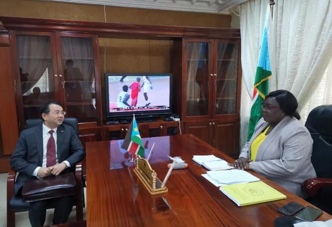 △图片信息:中国驻南苏丹大使和南苏丹外长交流抗疫经验分享