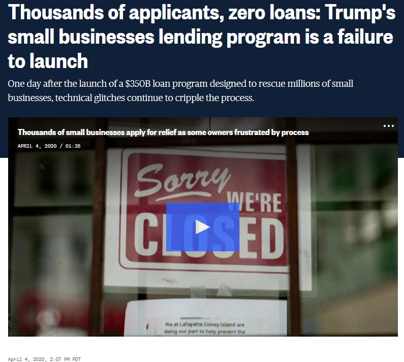 △ US media reports: Zero thousands of applications accepted: Trump small business loan program that is start to defeat