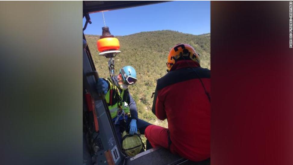 ↑声援队郑重过直升机救首试图越过西班牙边境的法国外子 。图据CNN讯休