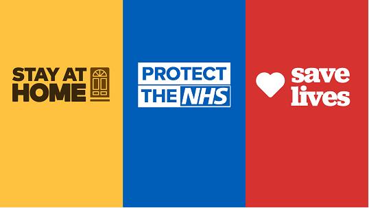 △旧宣传口号:留在家里,限制病毒,珍惜NHS,挽救生命
