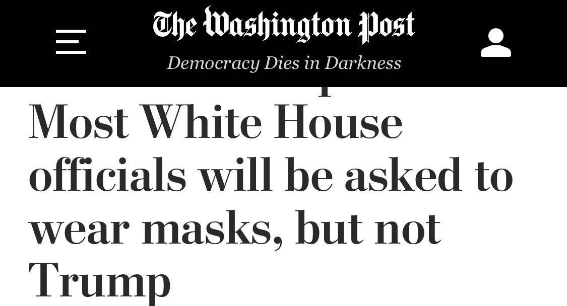特朗普要求所有白宫人员戴口罩_自己仍然不戴