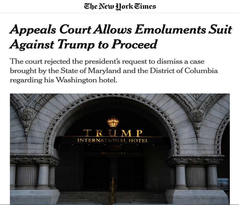 △《纽约时报》报道,法院将重启特朗普违反薪酬条款的诉讼案
