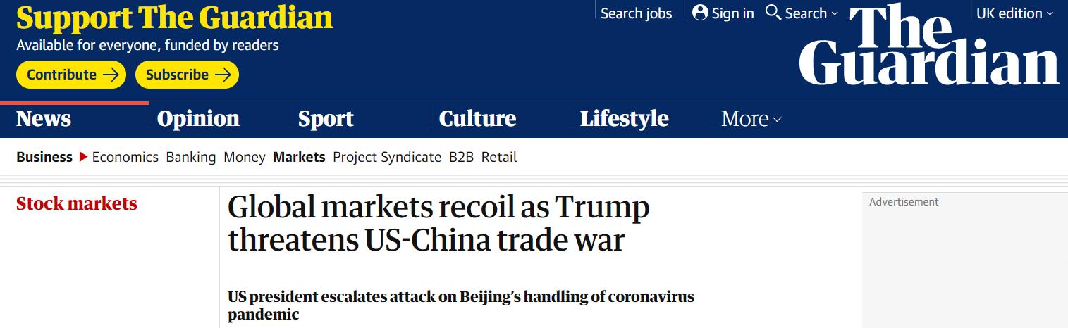△英国《卫报》报道:特朗普激化中美贸易战,全球市场萎缩