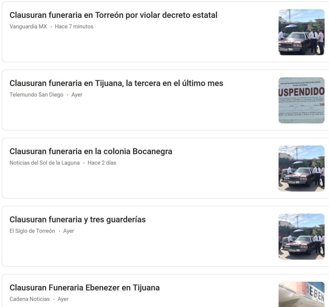 △墨西哥各地关停殡葬公司的新闻(网页截图)